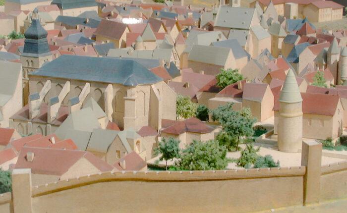 Maquette de restitution historique de la cité épiscopale de Sarlat au 16e siècle