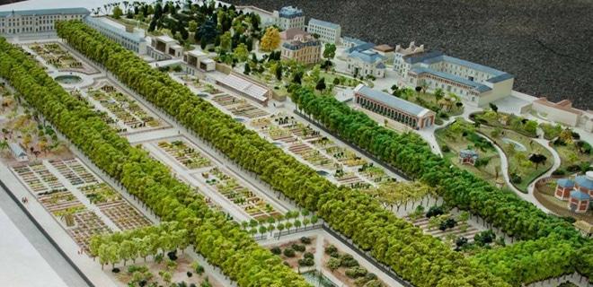 Maquette de reconstitution historique du Jardin des Plantes au 19eme - Paris