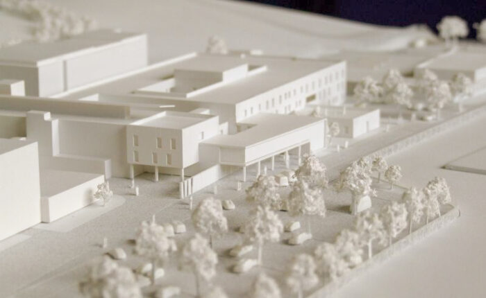Maquette blanche de concours de l'höpital de Givors