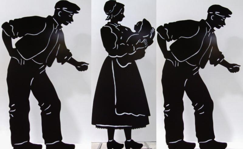 Décors : silhouettes métal du monde paysan début 20ème siècle
