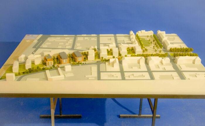 Maquette d'architecture d'urbanisme au 1/333 - ZAC de l'espace central à Sallanches (74)