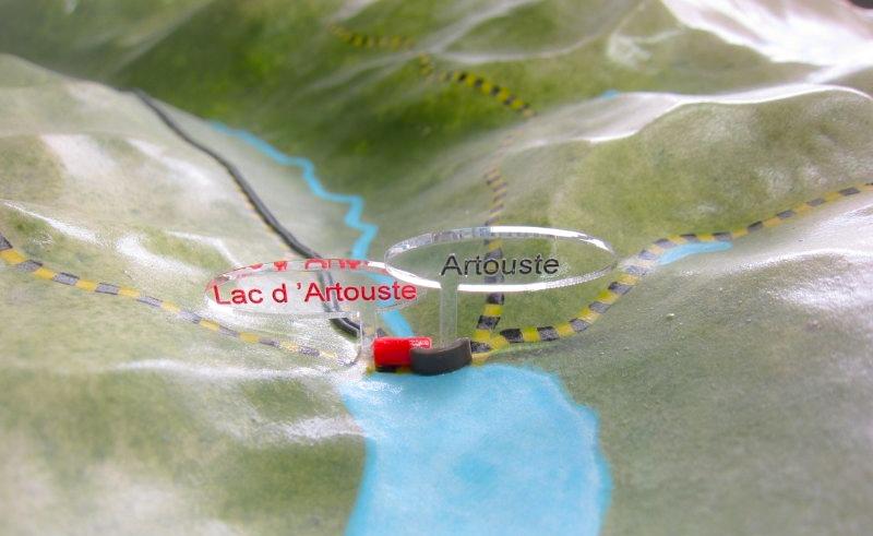 Maquette topographique couleur au 1/25000ème de la Vallée d'Ossau - Vue de détail