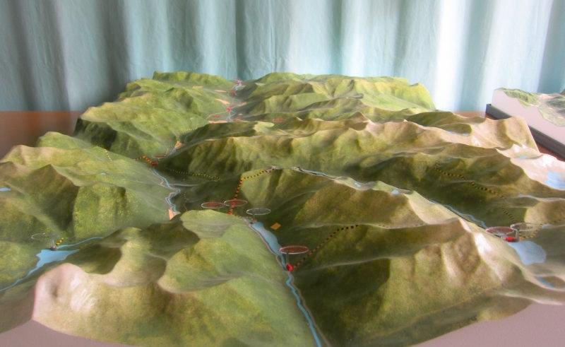 Maquette topographique couleur au 1/25000ème de la Vallée d'Ossau