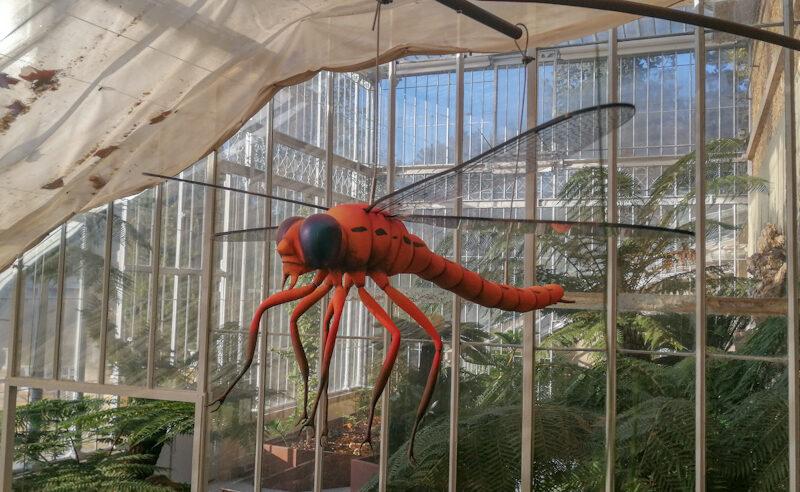 Sculpture d'une libellule du crétacé à taille réelle