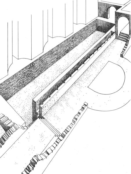 Maquette historique de restitution archéologique du rideau de scène - Croquis d'André Ducaroy