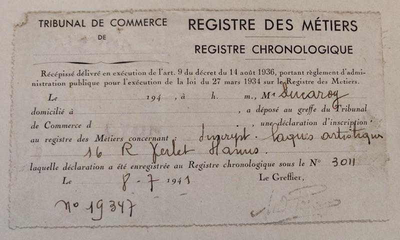 Registre de métiers - André Ducaroy - Tribunal de Commerce - 1941