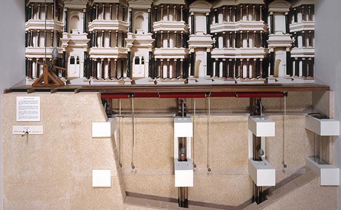 Maquette historique animée de restitution archéologique du rideau de scène - Croquis d'André Ducaroy - Ducaroy Grange