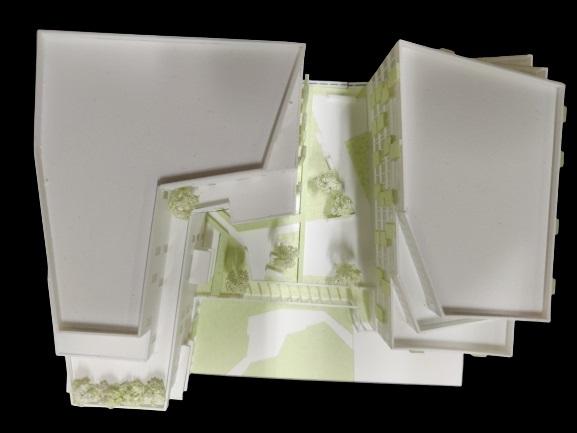 Maquette blanche de concours d'architecture au 1/500e - Vue de dessus