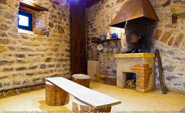 Décor d'exposition - reconstitution de l'aménagement intérieur d'une cabane des vignes