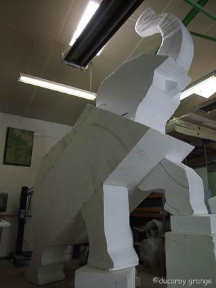Sculpture d'un éléphant de l'Atlas - Travail en cours