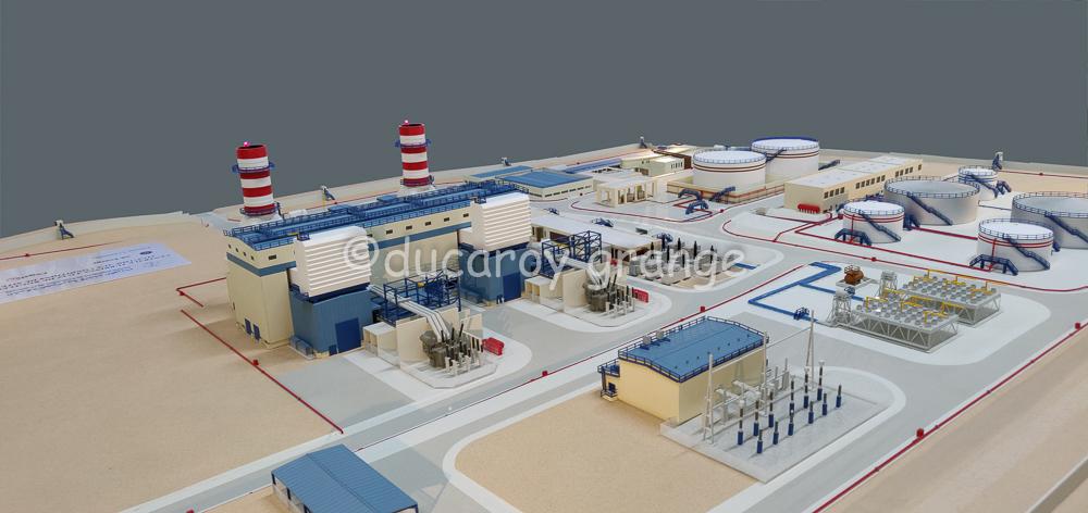 Maquette d'exposition industrielle du site d'une centrale électrique
