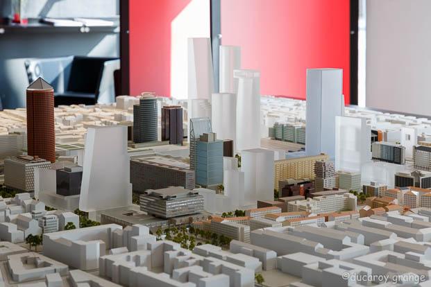 Maquette d'urbanisme évolutive au 1/750 du quartier de la Part-Dieu à Lyon