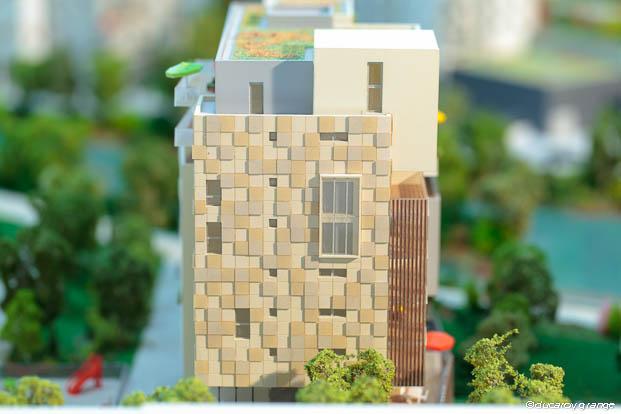 Maquette architecturale de promotion d'un ensemble immobilier au 1/160